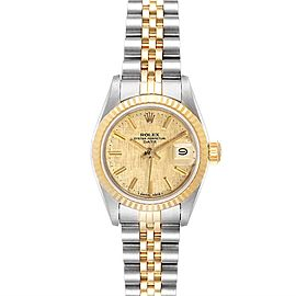 Rolex Datejust 26mm Steel Yellow Gold Linen Dial Ladies Watch 69173