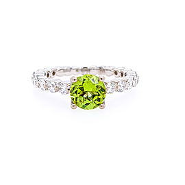 Ritani 18k White Gold Peridot Diamond Ring 6.5