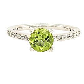 Ritani 1R1966CCRWG-65 18k White Gold Peridot, Diamond Ring