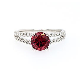 Ritani 18k White Gold Garnet Diamond Ring 6.5