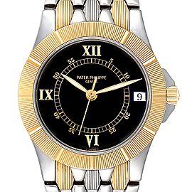 Patek Philippe Neptune Black Dial Steel Yellow Gold Mens Watch 5080 Box Papers