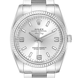 Rolex Air King Steel White Gold Fluted Bezel Mens Watch 114234 Box Card