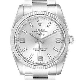 Rolex Air King Steel White Gold Fluted Bezel Mens Watch 114234 Box Card