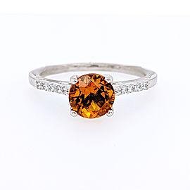 Ritani 18k White Gold Citrine Diamond Ring 6.5