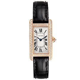 Cartier Tank Americaine Small Rose Gold Diamond Ladies Watch