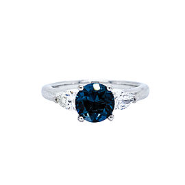 Ritani 18k White Gold London Blue Topaz Diamond Ring 6.5