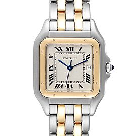 Cartier Panthere Jumbo Steel Yellow Gold Two Row Unisex Watch 187957