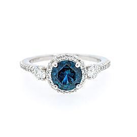 Ritani 18k White Gold Sapphire Diamond Ring 6.5