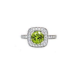 Ritani 18k White Gold Peridot Diamond Ring 6.5