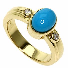 TASAKI 18k Yellow Gold 2P Diamond Turquoise Ring