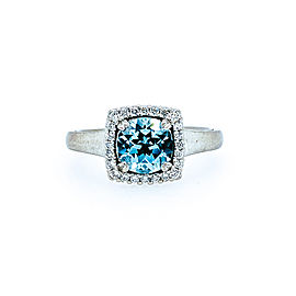 Ritani 18k White Gold Sky Blue Topaz Diamond Ring 6.5