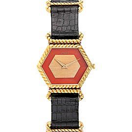 Piaget 18K Yellow Gold Coral Dial Hexagonal Vintage Ladies Watch 9559