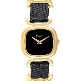 Piaget Solo Tempo Yellow Gold Black Onyx Dial Vintage Ladies Watch 9451