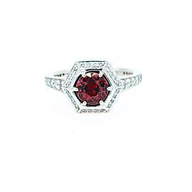 Ritani 18k White Gold Garnet Diamond Ring 6.5