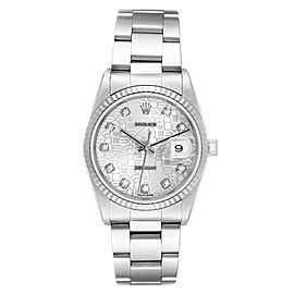 Rolex Datejust Steel White Gold Diamond Mens Watch 16234 Box Papers
