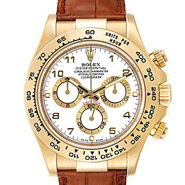 Rolex Daytona Yellow Gold White Dial Brown Strap Mens Watch 116518