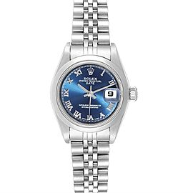 Rolex Date Blue Roman Dial Steel Ladies Watch 79160 Box Papers