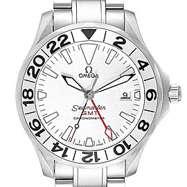 Omega Seamaster GMT Great White Steel Mens Watch 2538.20.00 Box Card