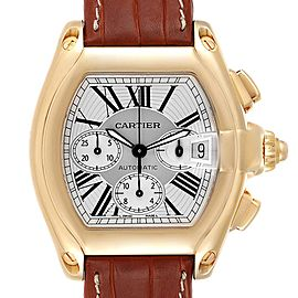 Cartier Roadster Brown Strap Yellow Gold Chronograph Mens Watch W62021Y3