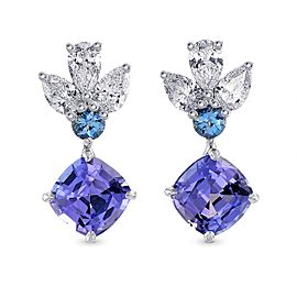 Leibish 18K White Gold Tanzanite, Aquamarine & Diamond Drop Earrings
