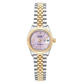 Rolex Datejust 28 Steel Yellow Gold Lilac Diamond Dial Ladies Watch 279173