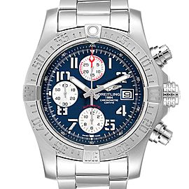 Breitling Super Avenger Blue Dial Chronograph Mens Watch A13381 Card