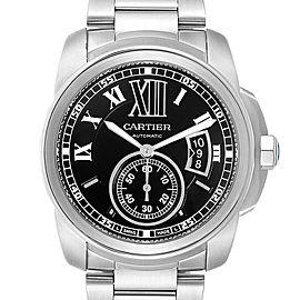 Cartier Calibre Black Dial Automatic Steel Mens Watch W7100057