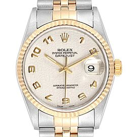 Rolex Datejust Steel Yellow Gold Anniversary Dial Mens Watch 16233