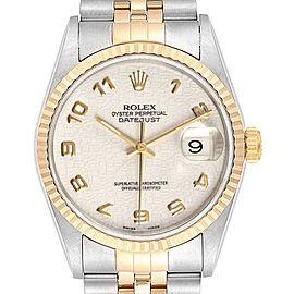Rolex Datejust Steel Yellow Gold Anniversary Dial Mens Watch 16233