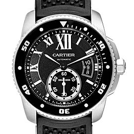 Cartier Calibre Divers Black Rubber Strap Steel Mens Watch W7100056