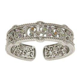 Judith Ripka 925 Sterling Silver with Multicolor Stones Bangle Bracelet