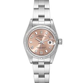 Rolex Date Salmon Dial Oyster Bracelet Steel Ladies Watch 79190 Box Papers