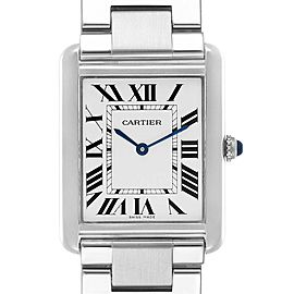 Cartier Tank Solo Silver Dial Steel Mens Watch W5200014 Papers