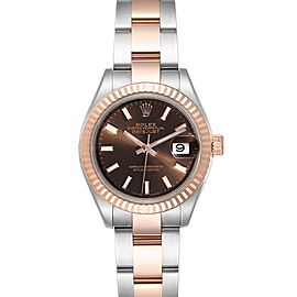 Rolex Datejust 28 Everose Rolesor Brown Dial Ladies Watch 279171 Box Card