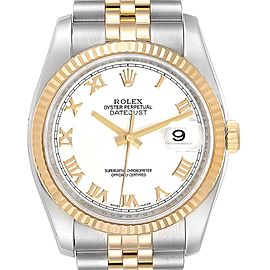Rolex Datejust Steel Yellow Gold White Roman Dial Mens Watch 116233