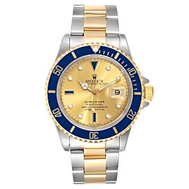 Rolex Submariner Steel Gold Diamond Sapphire Serti Dial Mens Watch 16613