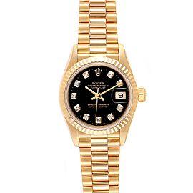 Rolex President Datejust Yellow Gold Black Diamond Dial Ladies Watch 79178