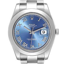 Rolex Datejust II Blue Roman Dial Steel Mens Watch 116300 Box Card