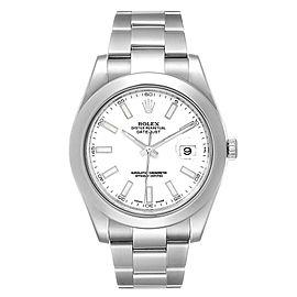 Rolex Datejust II 41mm White Dial Steel Mens Watch 116300 Box Card