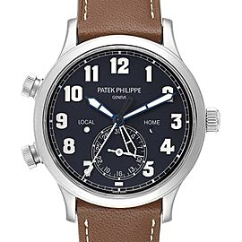 Patek Philippe Calatrava White Gold Pilot Travel Time Watch 5524 Box Papers