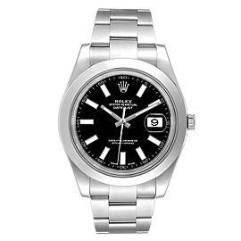 Rolex Datejust II Black Baton Dial Steel Mens Watch 116300 Box Card