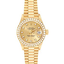 Rolex President Datejust 26mm Yellow Gold Diamond Ladies Watch 69138