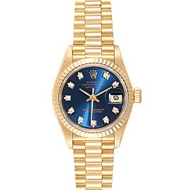 Rolex President Datejust Yellow Gold Blue Diamond Dial Ladies Watch 69178