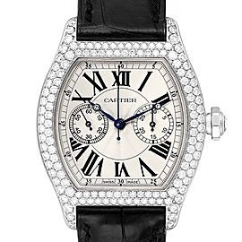 Cartier Tortue Monopusher Chronograph White Gold Diamond Watch 2396G