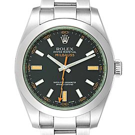 Rolex Milgauss Black Dial Green Domed Bezel Crystal Mens Watch 116400V