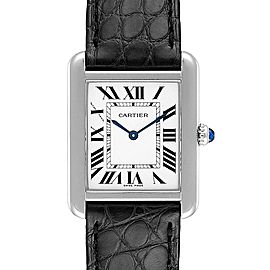 Cartier Tank Solo Steel Black Strap Quartz Ladies Watch W1018255