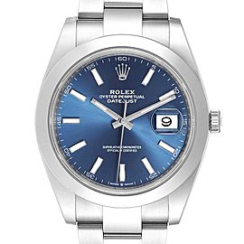 Rolex Datejust 41 Blue Dial Steel Mens Watch 126300 Box Card