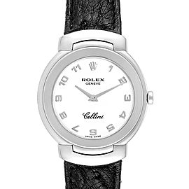 Rolex Cellini 18k White Gold Black Strap Ladies Watch 6622
