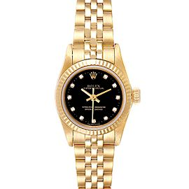 Rolex President No-Date Yellow Gold Diamond Ladies Watch 67198 Box Papers