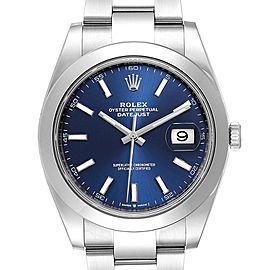 Rolex Datejust 41 Blue Dial Oyster Bracelet Mens Watch 126300 Box Card